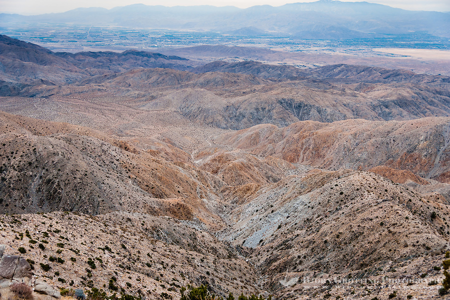 United States, California, Joshua Tree National Park. From The lookout point at Keys View one can see the Coachella Valley and Salton Sea. The San Andreas Fault is visible at the center of the plain.