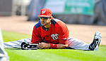 28 February 2011: Washington Nationals' outfielder Michael Morse stretches out prior to a Spring Training game against the New York Mets at Digital Domain Park in Port St. Lucie, Florida. The Nationals defeated the Mets 9-3 in Grapefruit League action. Mandatory Credit: Ed Wolfstein Photo