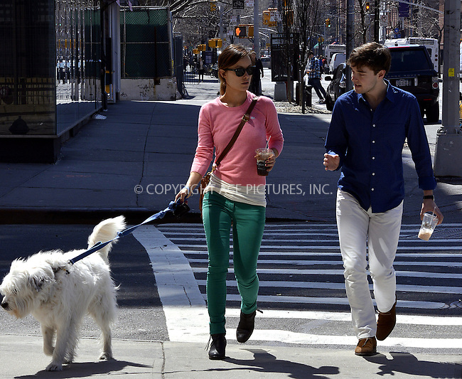 WWW.ACEPIXS.COM....April 8 2013, New York City....Actress Olivia Wilde and her brother Charlie Cockburn take her dog Paco for a walk in Chelsea on April 8 2013 in New York City......By Line: Curtis Means/ACE Pictures......ACE Pictures, Inc...tel: 646 769 0430..Email: info@acepixs.com..www.acepixs.com