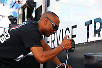 Apr 25, 2014; Baytown, TX, USA; NHRA top fuel dragster driver Antron Brown during qualifying for the Spring Nationals at Royal Purple Raceway. Mandatory Credit: Mark J. Rebilas-