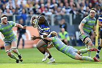 Beno Obano of Bath Rugby takes on the Newcastle Falcons defence. Aviva Premiership match, between Bath Rugby and Newcastle Falcons on September 23, 2017 at the Recreation Ground in Bath, England. Photo by: Patrick Khachfe / Onside Images