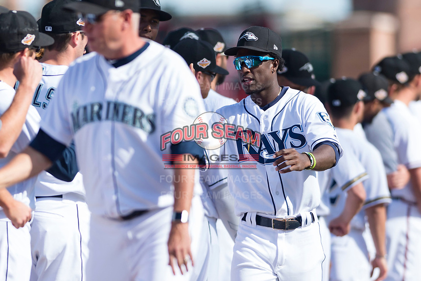 Peoria Javelinas shortstop Lucius Fox (5), of the Tampa Bay Rays organization, during player introductions before the Arizona Fall League Championship game against the Salt River Rafters at Scottsdale Stadium on November 17, 2018 in Scottsdale, Arizona. Peoria defeated Salt River 3-2 in 10 innings. (Zachary Lucy/Four Seam Images)