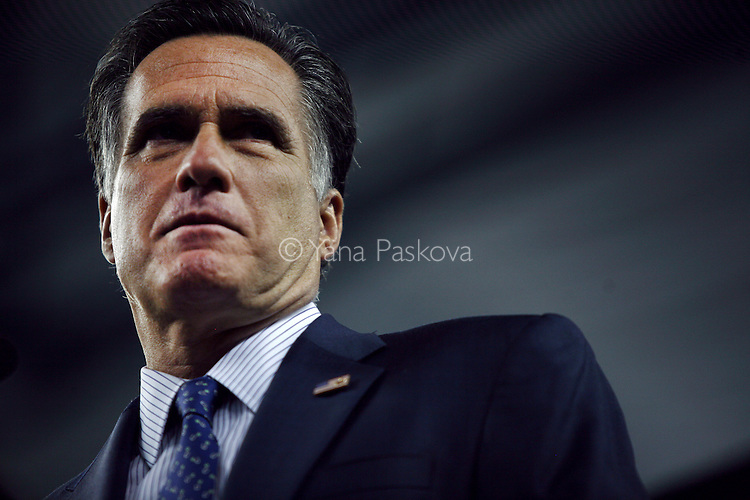 Republican Presidential candidate Mitt Romney (R-MA) addresses the Detroit Economic Club at Ford Field in Detroit, Michigan on Friday, February 24, 2012. (Photo by Yana Paskova for The New York Times)<br /> <br /> Assignment ID: 30121645A