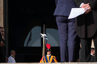 Vatican City, October 13, 2019. Swiss guards attend a canonization Mass in St. Peter's Square at the Vatican. Pope Francis on Sunday canonized Cardinal John Henry Newman, the 19th-century Anglican convert who became an immensely influential, unifying figure in both the Anglican and Catholic churches. Francis presided over Mass on Sunday in a packed St. Peter's Square to declare Newman and four women saints. (Antonello Nusca/BuenavistaPhoto)