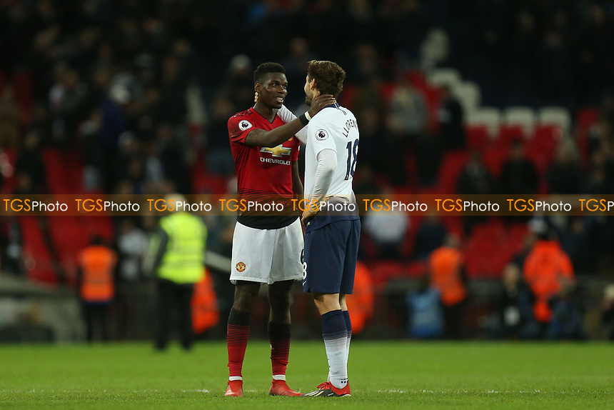 Fernando Llorente of Tottenham Hotspur and Paul Pogba of Manchester United after Tottenham Hotspur vs Manchester United, Premier League Football at Wembley Stadium on 13th January 2019