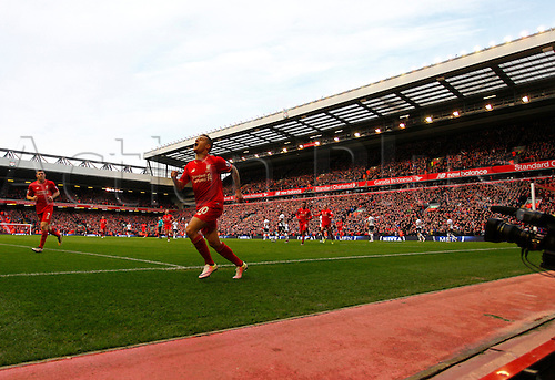 02.04.2016. Anfield, Liverpool, England. Barclays Premier League. Liverpool versus Tottenham Hotspur. Liverpool midfielder Philippe Coutinho runs away after he scores his side's first goal in the 51st minute.