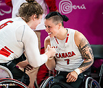 Lima, Peru -  26/August/2019 - Canada takes on Brazil in the semifinal in women's wheelchair basketball at the Parapan Am Games in Lima, Peru. Photo: Dave Holland/Canadian Paralympic Committee.
