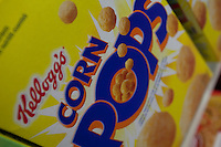 A Kellogg's Corn Pops cereal box is seen in a Metro grocery store in Quebec city March 4, 2009.