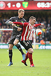 Billy Sharp of Sheffield Utd and of Ondrej Duda of Norwich during the Premier League match at Bramall Lane, Sheffield. Picture date: 7th March 2020. Picture credit should read: Alistair Langham/Sportimage