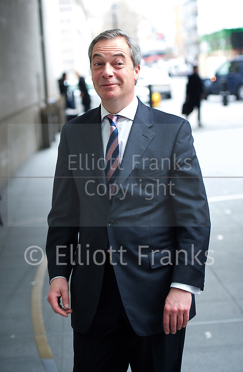 Andrew Marr Show departures<br /> BBC, Broadcasting House, London, Great Britain <br /> 12th March 2017 <br /> <br /> <br /> Nigel Farage <br /> <br /> Photograph by Elliott Franks <br /> Image licensed to Elliott Franks Photography Services