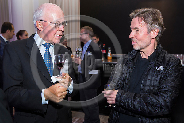 BRUSSELS - BELGIUM - 27 September 2017 -- Finland 100th Anniversary Reception and Concert of the Philharmonia Orchestra of London at the BOZAR. --(right) Esa-Pekka Salonen, Conductor of the Philharmonia Orchestra of London with Jan Store, Managing Director of Milton Brussels;. -- PHOTO: Juha ROININEN / EUP-IMAGES