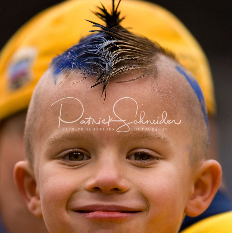 A young West Virginia fans during the Meineke Car Care Bowl college football game at Bank of America Stadium in Charlotte, NC.