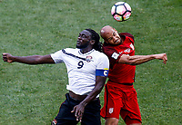 Commerce City, CO - Thursday June 08, 2017: Kenwyne Jones and John Brooks battle during their 2018 FIFA World Cup Qualifying Final Round match versus Trinidad & Tobago at Dick's Sporting Goods Park.