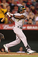 Oakland Athletics infielder Jemile Weeks #19 bats against the Los Angeles Angels at Angel Stadium on September 24, 2011 in Anaheim,California. Los Angeles defeated Oakland 4-2.(Larry Goren/Four Seam Images)