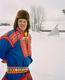 FINLAND, Hemet, Arctic, Sami man wearing a traditional Sami outfit during a Sami Festival in Hemet.