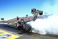 Sept. 21, 2013; Ennis, TX, USA: NHRA top fuel dragster driver Shawn Langdon during the Fall Nationals at the Texas Motorplex. Mandatory Credit: Mark J. Rebilas-
