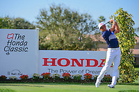 Rickie Fowler (USA) watches his tee shot on 12 during round 3 of the Honda Classic, PGA National, Palm Beach Gardens, West Palm Beach, Florida, USA. 2/25/2017.<br /> Picture: Golffile | Ken Murray<br /> <br /> <br /> All photo usage must carry mandatory copyright credit (&copy; Golffile | Ken Murray)