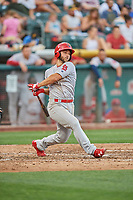 Max Schrock (56) of the Memphis Redbirds bats against the Salt Lake Bees at Smith's Ballpark on July 24, 2018 in Salt Lake City, Utah. Memphis defeated Salt Lake 14-4. (Stephen Smith/Four Seam Images)