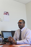 LeVon Stone, Sr., a Program Director for Cease Fire, a public health initiative that attempts to stop or halt gun violence across the city, in his office at the University of Illinois School of Public Health, in Chicago, Illinois on February 3, 2017.  Stone is paralyzed after he was shot at the age of 18 while intervening in a conflict.