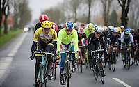 Sep Vanmarcke (BEL/LottoNL-Jumbo) &amp; Peter Sagan (SVK/Tinkoff-Saxo) show themselves at the front of the peloton/echelon<br /> <br /> 77th Gent-Wevelgem 2015