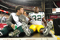 Aug. 28, 2009; Glendale, AZ, USA; Green Bay Packers running back (32) Brandon Jackson is carted off the field after being injured against the Arizona Cardinals during a preseason game at University of Phoenix Stadium. Mandatory Credit: Mark J. Rebilas-