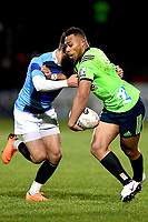 Tevita Li of the Highlanders in action during the rugby match between the Highlanders and the French Barbarians at Rugby Park in Invercargill, New Zealand on Friday, 22 June 2018. Copyright Image: Joe Allison / lintottphoto.co.nz