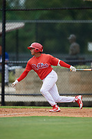 GCL Phillies East second baseman Nicolas Torres (18) follows through on a swing during a game against the GCL Blue Jays on August 10, 2018 at Carpenter Complex in Clearwater, Florida.  GCL Blue Jays defeated GCL Phillies East 8-3.  (Mike Janes/Four Seam Images)