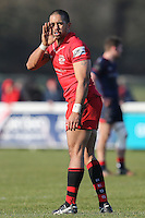 Ratu Maafu of Jersey Reds during the Greene King IPA Championship match between London Scottish Football Club and Jersey at Richmond Athletic Ground, Richmond, United Kingdom on 18 February 2017. Photo by David Horn / PRiME Media Images.