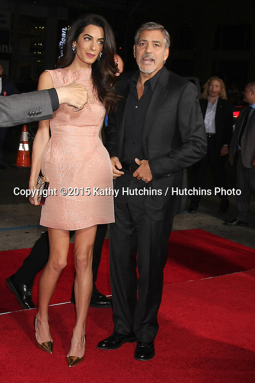 """LOS ANGELES - OCT 26:  Amal Alamuddin Clooney, George Clooney at the """"Our Brand is Crisis"""" LA Premiere at the TCL Chinese Theater on October 26, 2015 in Los Angeles, CA"""