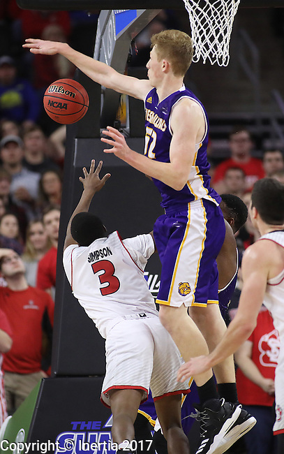 SIOUX FALLS, SD: MARCH 4: Brandon Gilbeck #52 of Western Illinois blocks Triston Simpson #3 of South Dakota on March 4, 2017 during the Summit League Basketball Championship at the Denny Sanford Premier Center in Sioux Falls, SD. (Photo by Dick Carlson/Inertia)