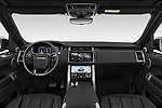 Stock photo of straight dashboard view of a 2018 Land Rover Range Rover Sport HSE Dynamic 5 Door SUV
