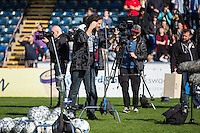 The crew get ready to begin filming during The Impractical Jokers (Hit US TV Comedy) filming at Wycombe Wanderers FC at Adams Park, High Wycombe, England on 5 April 2016. Photo by Andy Rowland.