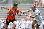 16 May 2015: Princeton's Anya Gersoff (45) and Duke's Taylor Trimble (right). The Duke University Blue Devils hosted the Princeton University Tigers at Koskinen Stadium in Durham, North Carolina in a 2015 NCAA Division I Women's Lacrosse Tournament quarterfinal match. Duke won the game 7-3.