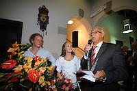 TURNEN: HEERENVEEN: centrum Heerenveen, 16-08-2012, Huldiging Olympisch kampioen, Epke Zonderland en Céline van Gerner worden toegesproken door waarnemend burgemeester Lykele Buwalda, ©foto Martin de Jong