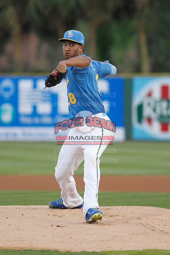 Myrtle Beach Pelicans pitcher Daury Torrez (38) during a game against the Wilmington Blue Rocks at Ticketreturn.com Field at Pelicans Ballpark on April 10, 2015 in Myrtle Beach, South Carolina.  Wilmington defeated Myrtle Beach 8-3. (Robert Gurganus/Four Seam Images)