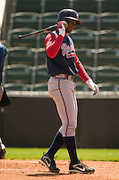 Rome Braves shortstop Elvis Andrus (#24) walks back to the dugout after having struck out versus the Kannapolis Intimidators at Fieldcrest Cannon Stadium in Kannapolis, NC, Tuesday, April 18, 2006.  Rome defeated Kannapolis 6-4.