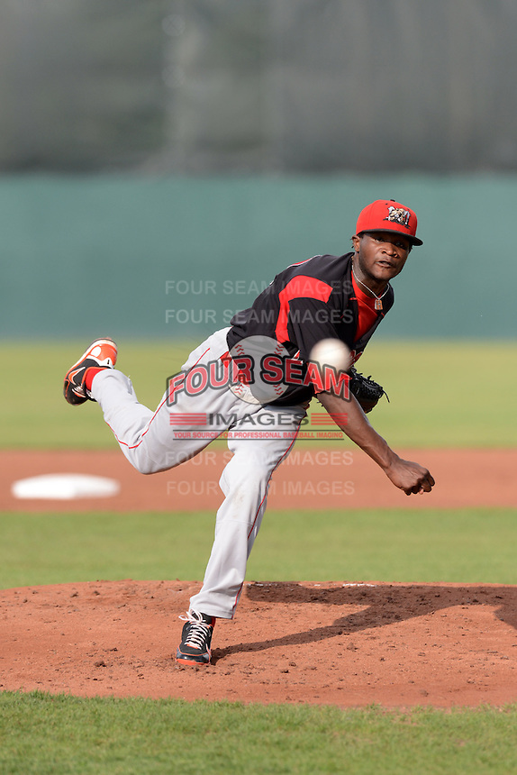 Batavia Muckdogs pitcher Domingo German (40) during a game against the Auburn Doubledays on August 28, 2013 at Falcon Park in Auburn, New York.  Auburn defeated Batavia 2-0.  (Mike Janes/Four Seam Images)
