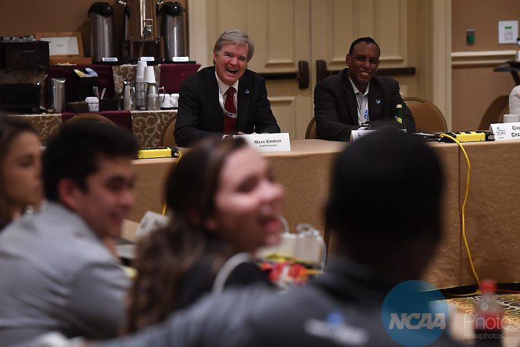 17 JAN 2017:  The NCAA Division II SAAC meeting takes place during the 2017 NCAA Convention takes place at the Gaylord Opryland Resort & Convention Center in Nashville, TN. Justin Tafoya/NCAA Photos (Pictured: Mark Emmert and Donald Remy)