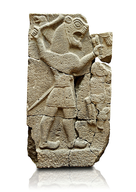 Late Hittite (Aramaean)  Basalt relief sculpture of an Aslan Lion from 9th Cent B.C, excavated from the west side of the citadel gate of Sam'al (Hittite: Yadiya) located at Zincirli Höyük in the Anti-Taurus Mountains of modern Turkey's Gaziantep Province. Istanbul Archaeological Museum Inv. No 7727.