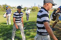 Justin Thomas (USA) and Rickie Fowler (USA) chat on their way to the 6th tee during round 1 foursomes of the 2017 President's Cup, Liberty National Golf Club, Jersey City, New Jersey, USA. 9/28/2017.<br /> Picture: Golffile | Ken Murray<br /> ll photo usage must carry mandatory copyright credit (&copy; Golffile | Ken Murray)