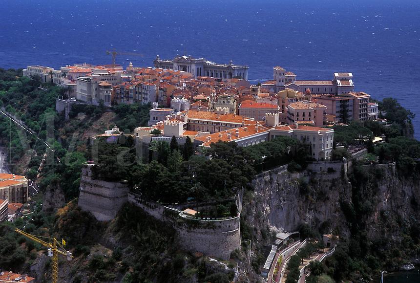 Monaco, Aerial view of the city of Monaco-Ville in the Principality of Monaco along the Mediterranean Sea.