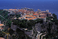 Monaco, Aerial view of the city of Monaco-Ville in the Principality of Monaco along the Mediterranean Sea.