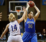 SIOUX FALLS MARCH 23:  Melinda Kollia #34 from Bentley University looks to pass the ball to a teammate past Blair Taylor #14 from Lubbock Christian during their 2016 NCAA Women's DII Elite 8 Basketball Championship semifinal Wednesday night at the Sanford Pentagon in Sioux Falls, S.D. (Photo by Dick Carlson/Inertia)