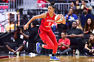 Washington, DC - August 17, 2018: Washington Mystics guard Natasha Cloud (9) brings the ball up court during game between the Washington Mystics and Los Angeles Sparks at the Capital One Arena in Washington, DC. (Photo by Phil Peters/Media Images International)