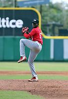 Carlos Reyes participates in the MLB International Showcase at Estadio Quisqeya on February 22-23, 2017 in Santo Domingo, Dominican Republic.