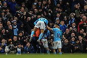 3rd December 2017, Etihad Stadium, Manchester, England; EPL Premier League football, Manchester City versus West Ham United; David Silva of Manchester City  celebrates his goal in the 83rd minute to make it 2-1 with his team mates
