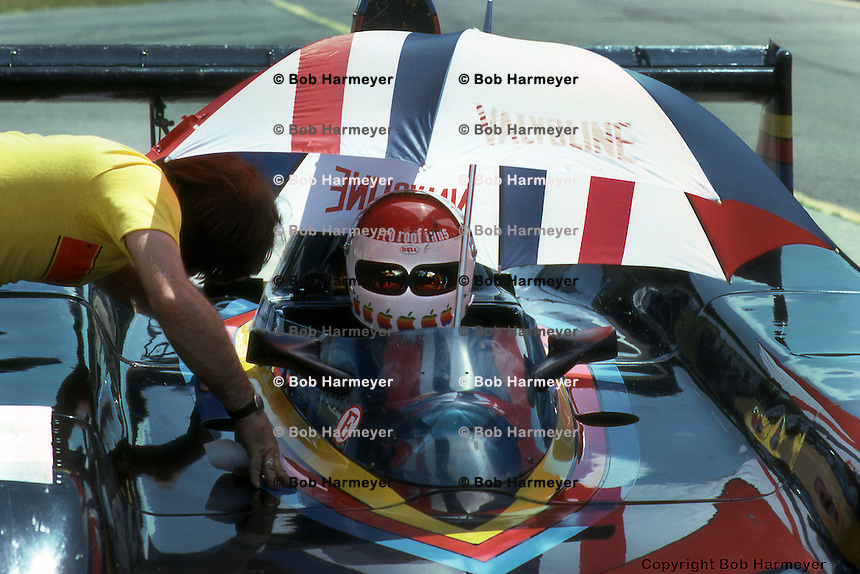 Bobby Rahal, driver of the Prophet 1/Chevrolet, during practice for the Can-Am race on July 6, 1980, at the Watkins Glen Grand Prix Race Course near Watkins Glen, New York.