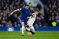 Chelsea's Davide Zappacosta is fouled by Crystal Palace's Luka Milivojevic <br /> <br /> Photographer Craig Mercer/CameraSport<br /> <br /> The Premier League - Chelsea v Crystal Palace - Saturday 10th March 2018 - Stamford Bridge - London<br /> <br /> World Copyright &copy; 2018 CameraSport. All rights reserved. 43 Linden Ave. Countesthorpe. Leicester. England. LE8 5PG - Tel: +44 (0) 116 277 4147 - admin@camerasport.com - www.camerasport.com