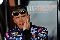 May 1, 2009; Richmond, VA, USA; NASCAR Sprint Cup Series driver Jeff Burton reacts during practice for the Russ Friedman 400 at the Richmond International Raceway. Mandatory Credit: Mark J. Rebilas-