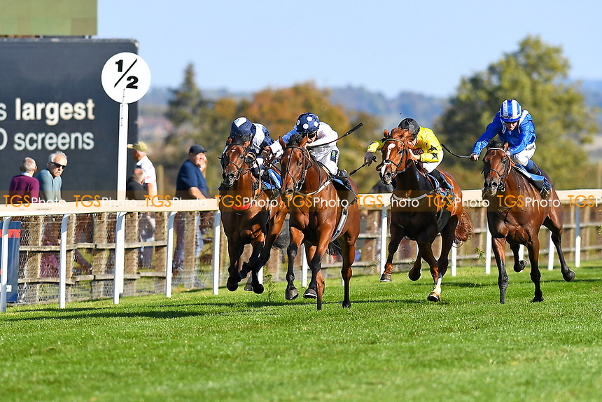 Winner of The Radcliffe & Co EBF Novice Stakes Div 2 Clara Peters (white) ridden by Jason Watson and trained by Gary Moore  during Afternoon Racing at Salisbury Racecourse on 3rd October 2018